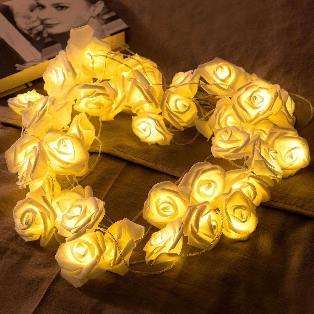 Battery Powered 1M/2M/3M/4M/5M/10M LED Rose Flower String Lights Holiday Valentine's Day Wedding Birthday Party Decor Garland