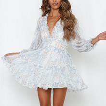 Sexy Back Open Floral Print Chiffon Dress Deep V Romantic Beach Holiday Short Summer Female Chic Boho Ruffle