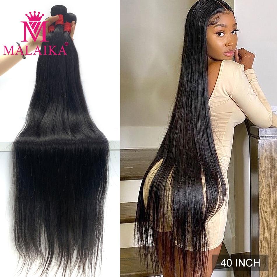Malaika прямые 26 28 30 32 40 дюймов Натуральные бразильские волосы Remy 1/3/4 плетение человеческие волосы пряди 100% человеческие волосы для наращивания