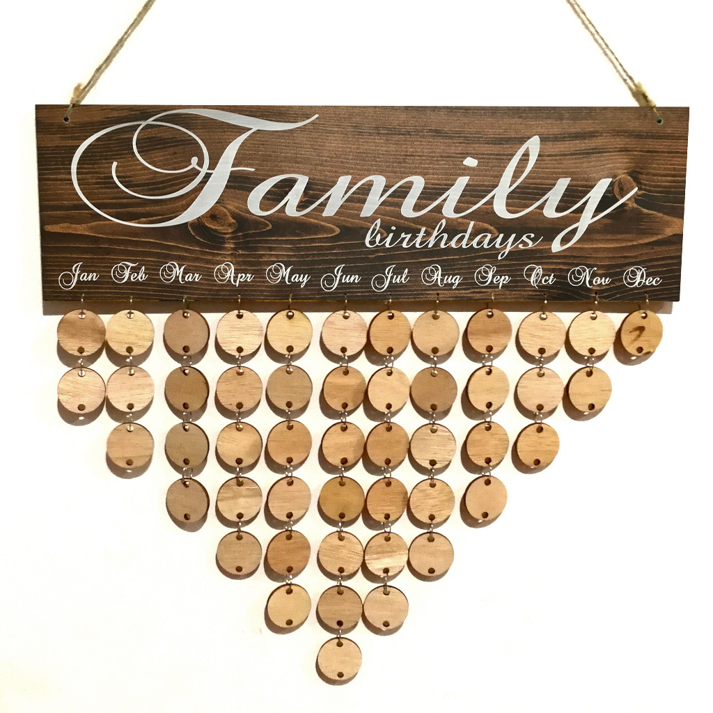 Family and Friends Birthday Celebrations Reminder Calendar Wall Hanging Wood Plaque Board Sign DIY Home Decoration Craft Gifts