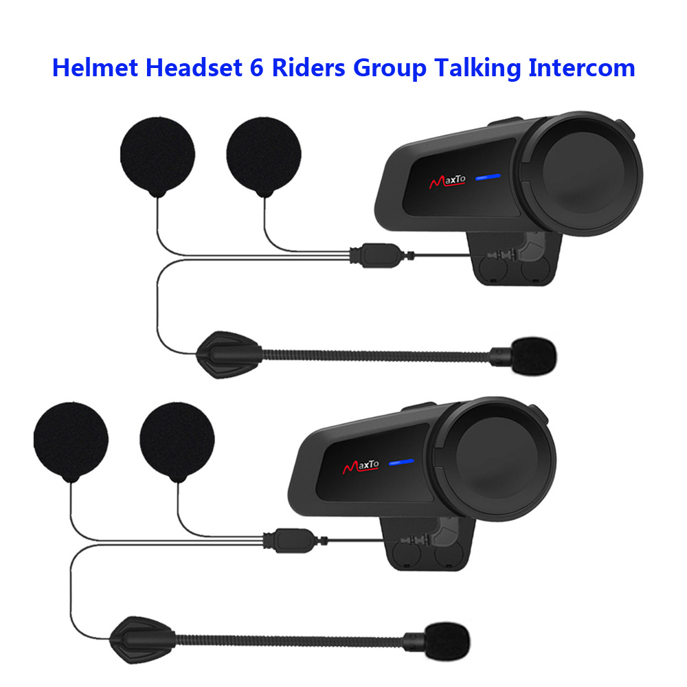 M2 Motorcycle Helmet Headset 6 Riders Group Talking Intercom Bluetooth 5.0 FM Radio Compatible With Any Bluetooth Headset