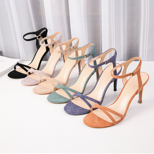 Image 2 - Women High Heels Sandals Shoes Woman 8.5cm Thin Heels Pumps Sandals Ladies Flock Solid Ankle Straps Casual Sexy Wedding Shoes