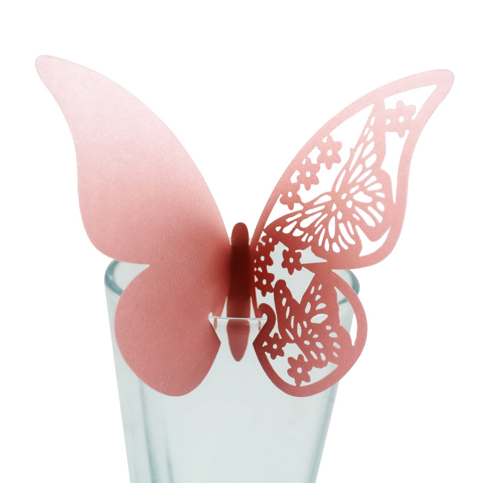 10pcs Table Mark Number Glass Laser Cut Butterfly Place Escort Wine Glass Cup DIY Paper Card for Wedding Party Festival Supply image