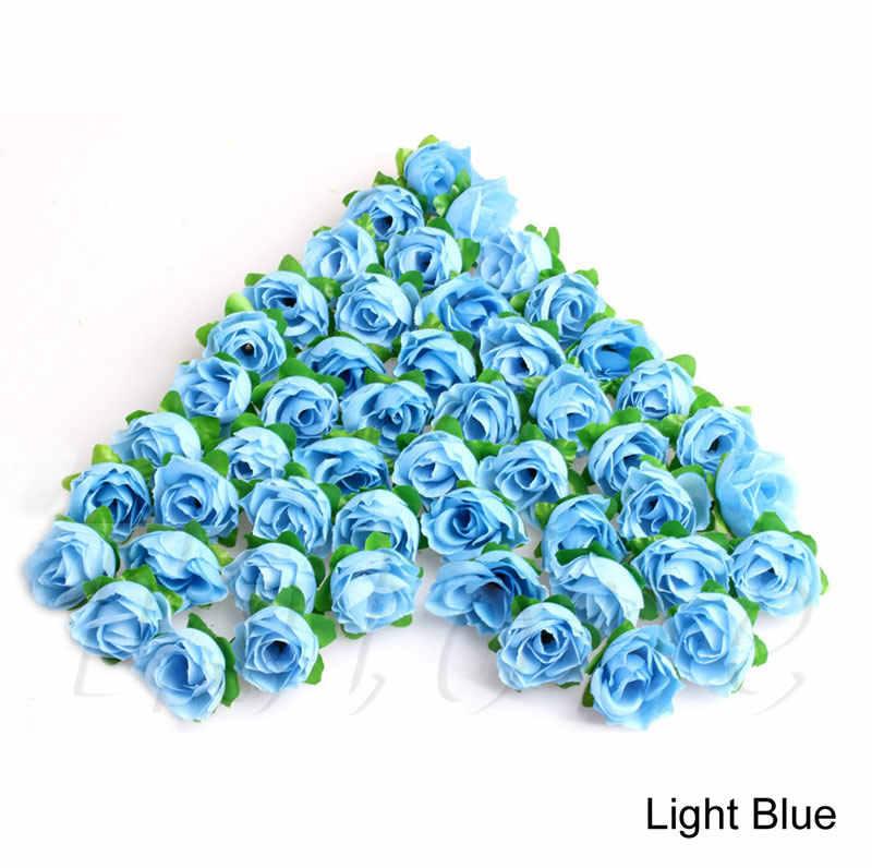 50Pcs DIY ดอกกุหลาบดอกไม้ผ้าไหมประดิษฐ์ขนาดเล็ก Bud งานแต่งงานตกแต่งบ้าน