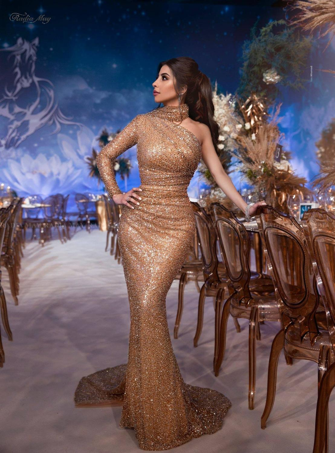 Custom Rose Gold Sequins Prom Evening Dresses Dubai Formal Party Mermaid Gown