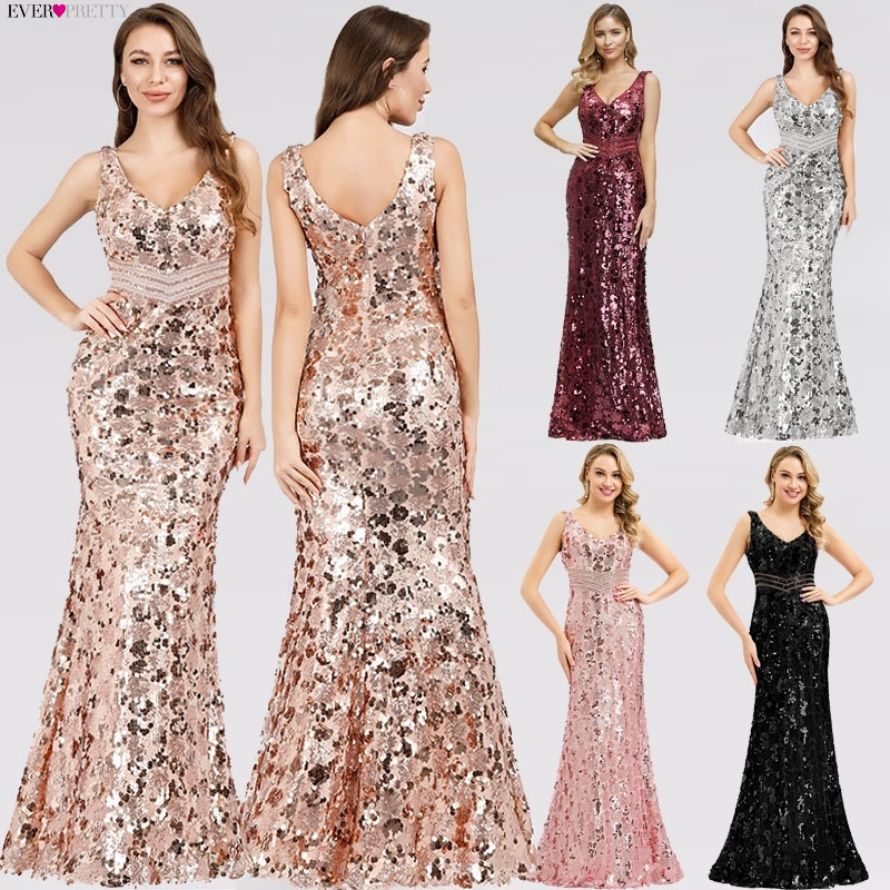 Sparkle Gorgeous Gold Avondjurken Lange Ever Pretty EP07872 Mermaid Sexy Lovertjes Elegante Avondjurken 2020 Robe De Soiree
