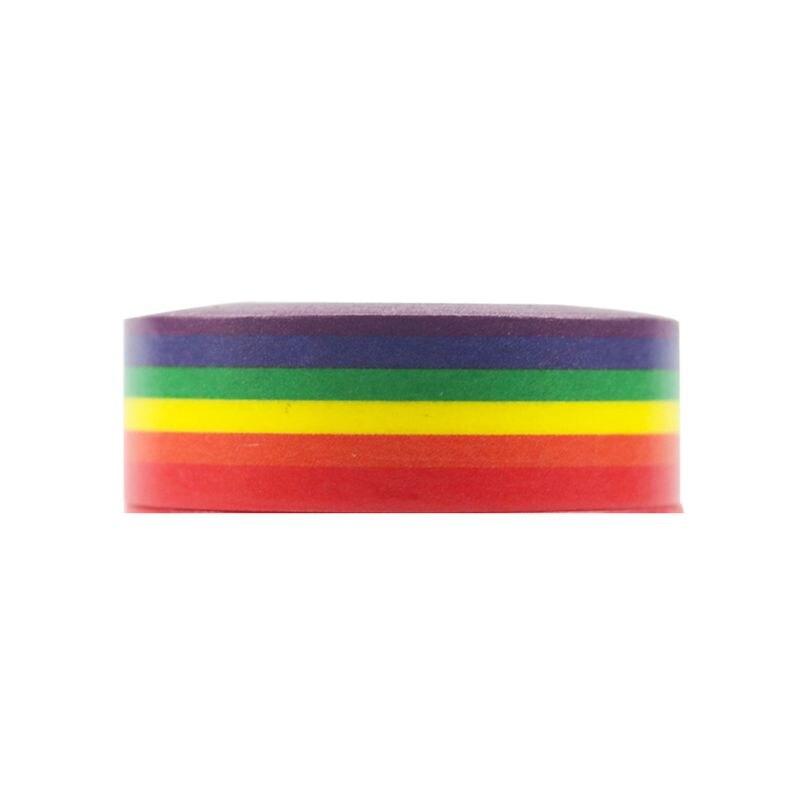 1PC New Rainbow Washi Tape School Supplies Stationery Tape Office Stationery 15mm Rainbow Tape