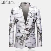 Hommes paysage peinture impression Blazers Slim Fit vestes décontractée Styles chinois blanc grande taille M-6XL vêtements homme A114