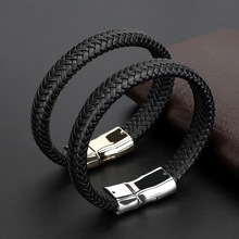 2019 New Stainless Steel Bracelet Men's Personality Fashion Domineer Leather Handmade Trendy Magnetic Clasp Male Wristband trendy mens bracelets white braided leather rope bracelet jewelry stainless steel magnetic clasp fashion male wristband sp0006