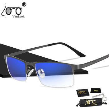 Męskie niebieskie światło okulary blokujące do okularów komputerowych Blaulicht ochrona gier niebieskie okulary ochronne przeciw promieniowaniu przeciwodblaskowe tanie i dobre opinie VANLOOK Akrylowe Unisex Blue Light Blocking Glasses for Computer 55 mm (2 17 in) 31 mm (1 22 in) STAINLESS STEEL Men s Fashion Computer Glasses