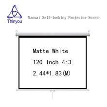цена Thinyou 120 inch 4:3 Matte White Self locking projector screen Manual Pull-Down Front Wall Mounted for LED LCD DLP Projector онлайн в 2017 году