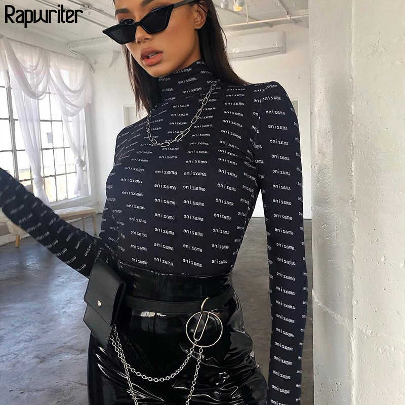 Rapwriter mode lettre imprimer slim col roulé body femmes 2019 automne Streetwear manches longues ouvert entrejambe body Mujer