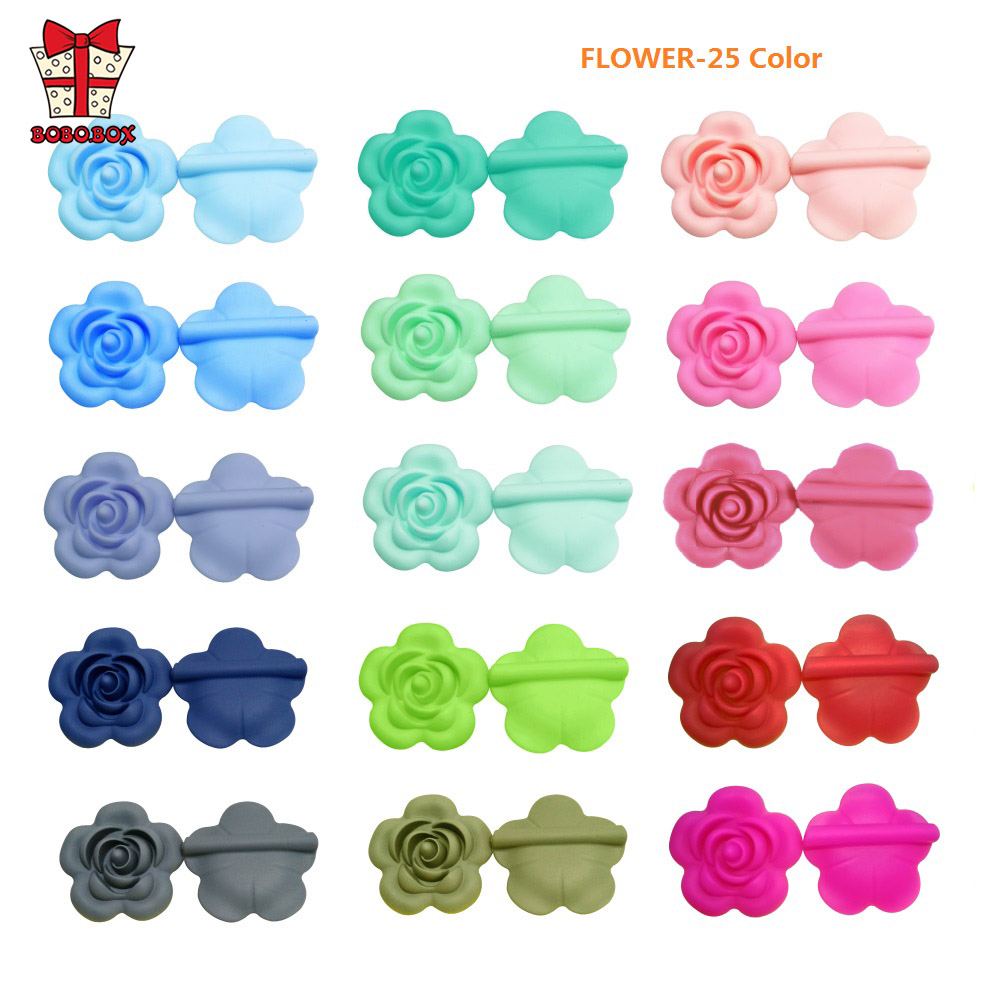 BOBO.BOX 10pcs Rose Silicone Beads Baby Teether Accessories Silicone Teething Beads Flower For Baby Teething Necklace Making