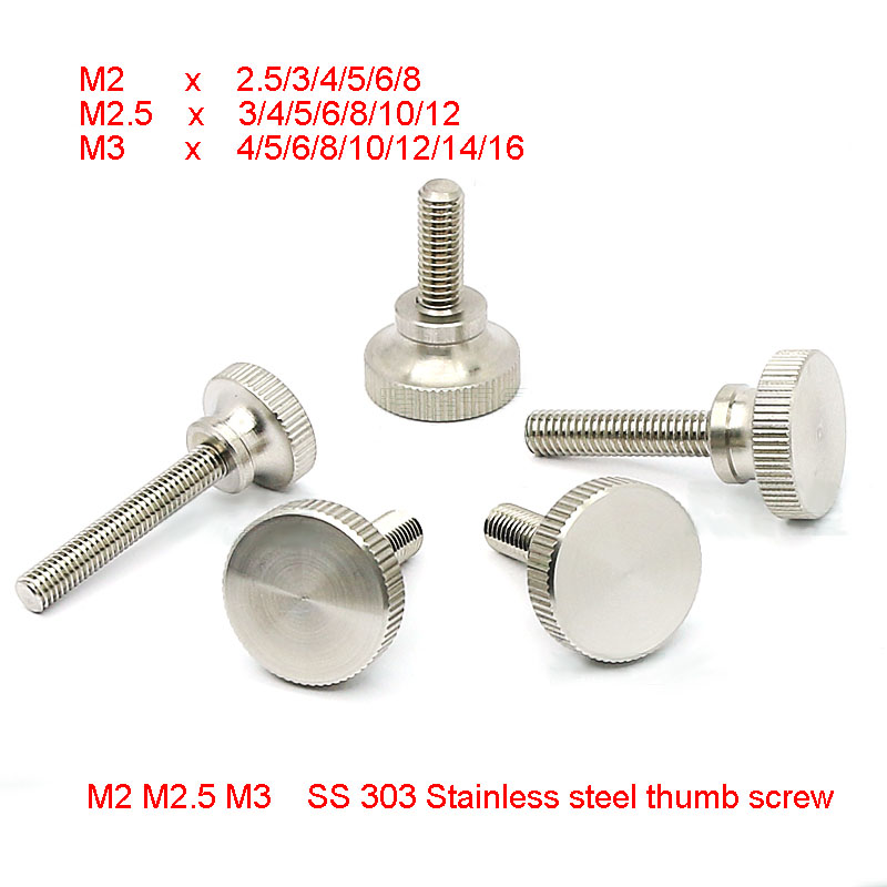 5//8 Length 303 Stainless Steel Thumb Screw #10-32 UNF Threads Plain Finish Knurled Head Flat Point Made in US Fully Threaded