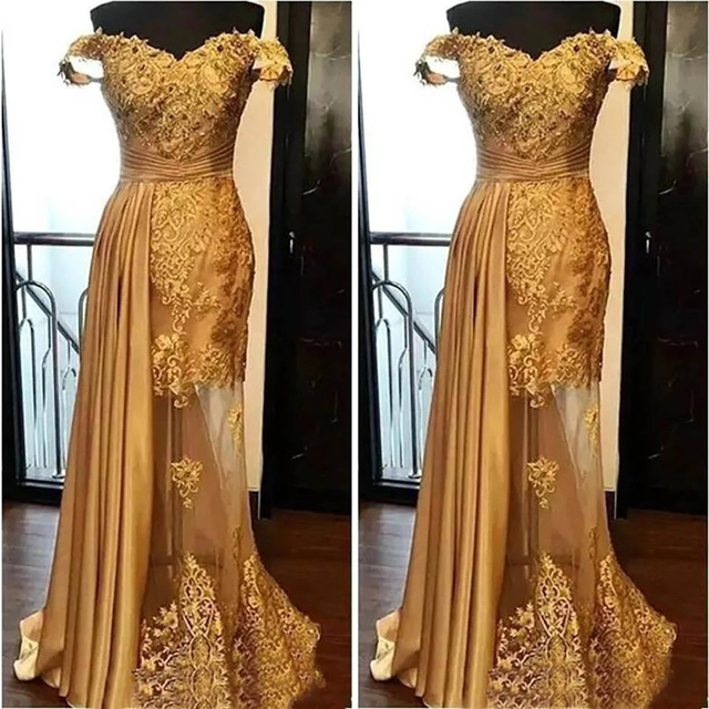 New Backless Formal Dresses Evening Gold Illusion Off-Shoulder Sleeveless Elastic Satin Tulle Prom Party Gown Applique 2