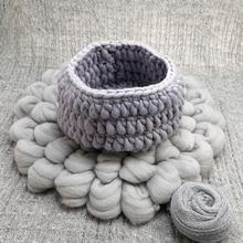 150*100cm Posing Layer Backdrop+Knit Basket+Handmade Chunky Fluffy Wool Fleece Blanket+140*30cm Stretch Knit Wrap for Baby use