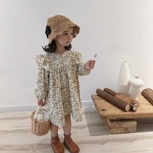 Spring cute girls floral long sleeve princess dress cotton linen loose doll dresses