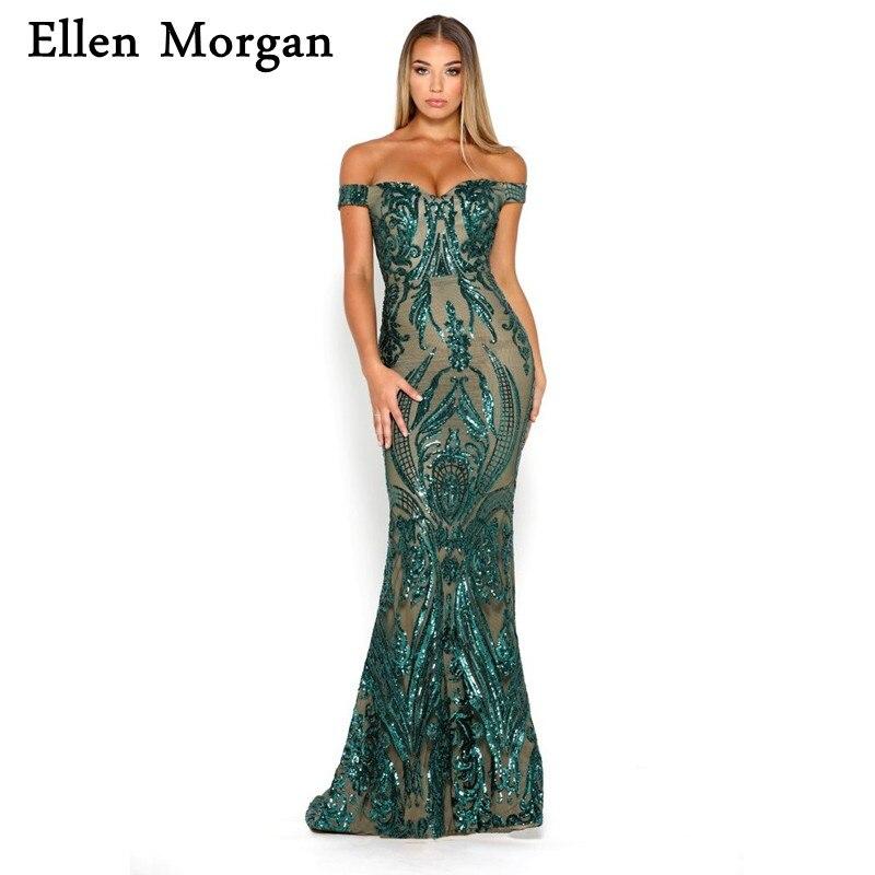 Élégant épaule dénudée sirène robes de soirée formelles 2019 Sexy balayage Train motif paillettes événement longues robes de bal pour tenue de femme