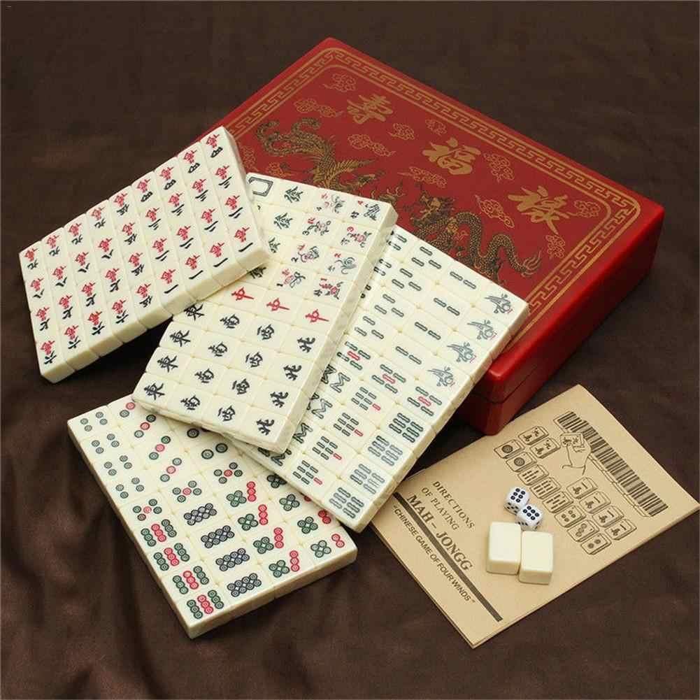 144 piezas de viaje portátil Mahjong escritorio Mahjong juego entretenimiento Mahjong juguete con caja portátil patrón aleatorio