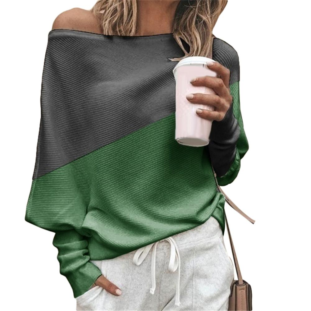 <font><b>Fashion</b></font> Spring Autumn <font><b>Women</b></font> T-Shirt Color Block <font><b>Off</b></font> <font><b>Shoulder</b></font> Loose batwing Long <font><b>Sleeve</b></font> tee <font><b>Tops</b></font> t shirt <font><b>women</b></font> female image