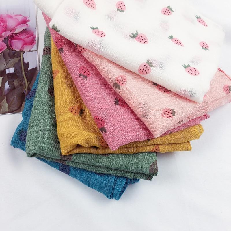 Children's Scarf Cute Little Strawberry Print Male And Female Baby Cotton Neckerchief Ring Hijab Scarf Fashion Brand Matagorda