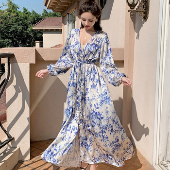 2020 Spring Runway Women Long Dress Luxury Vintage Blue ink painting Print Loose Dress Fashion Designer Party Maxi Dresses moaayina fashion designer runway dress spring summer women dress v neck batwing sleeve print loose maxi dresses