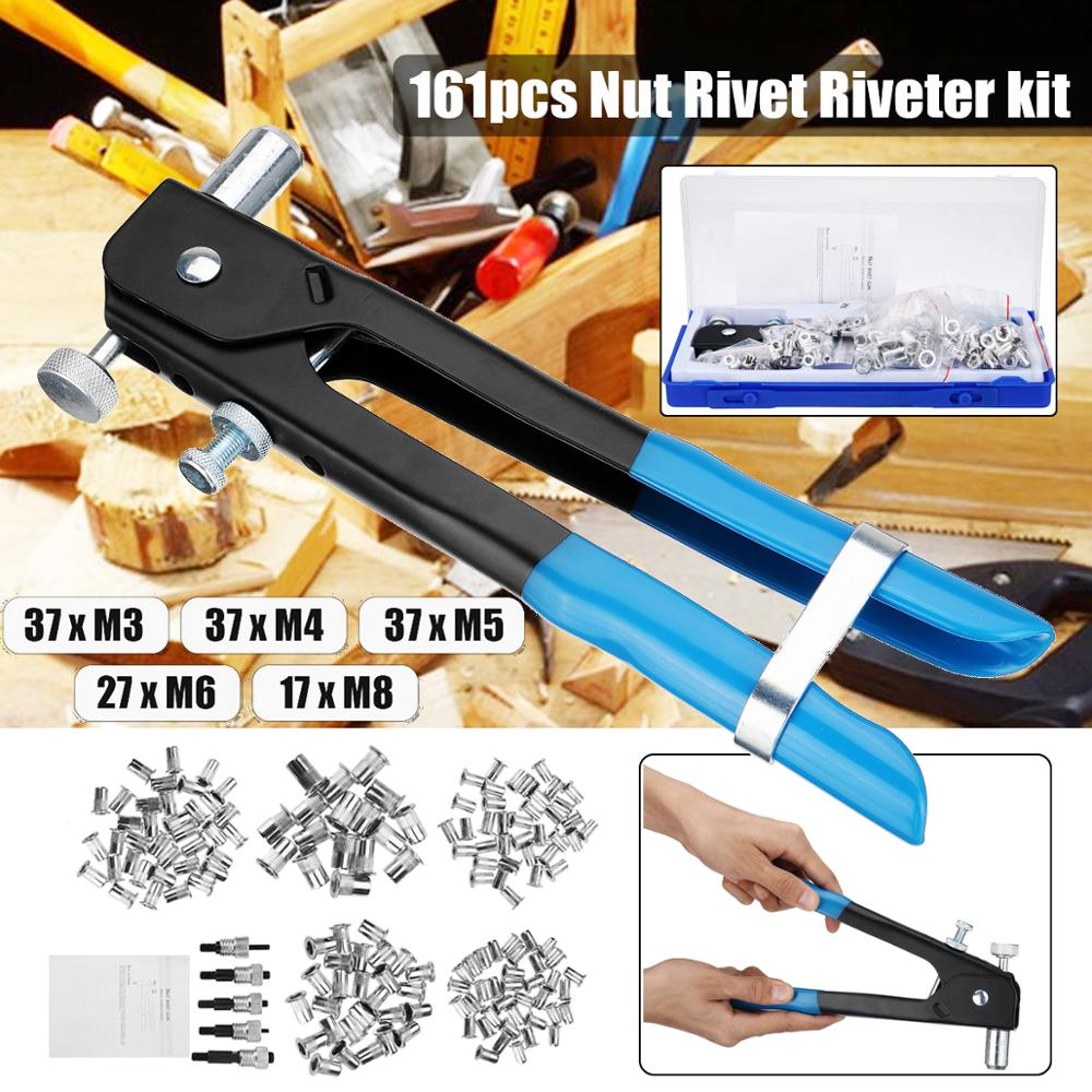 161Pcs Threaded Nut Rivet Tool M3-M8 Insert Tool Set Riveter Rivnut Nutsert Kit Household Repair Tools