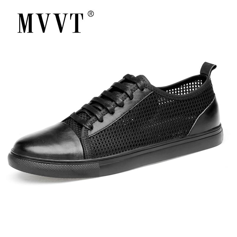 Breathable Men Sneakers Split Leather Casual Mesh Summer Shoes Men Comfortable Men Loafers Fashion Men Leather Shoes Zapatos