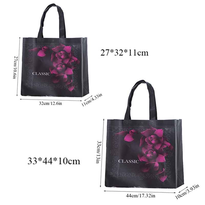2019 New Black Flower Foldable Shopping Bag Reusable Tote Pouch Eco Travel Grocery Bags Female Non-woven Fabric Shopping Bags