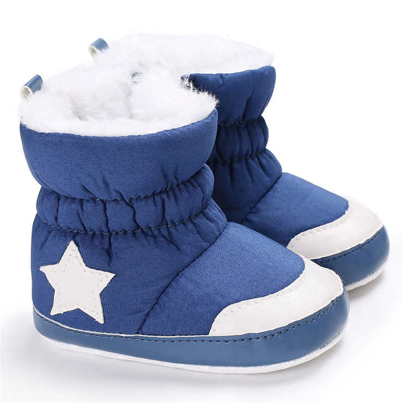 2019 Newborn Infant Shoes Winter Snow White Star Warm Indoor Soft Cotton Sole Non-slip Toddler Baby Shoes First Walkers Shoes