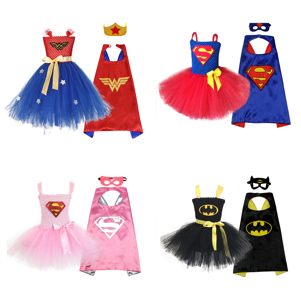 Blue Superman Girls Tutu Dress With Mask Super Hero Inspired Baby Costume Kids Cosplay Christmas Halloween Wonder Woman Dress