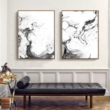 Nordic Wall Art Print Canvas Painting Black White Abstract Ink Landscape Marble Texture Poster Pictures Living Room Home Decor
