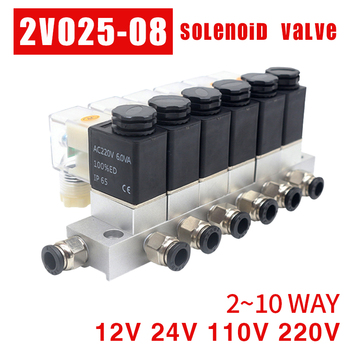 2V025-08 12V 24V 220V 110V  Pneumatic Electric Solenoid Valve 2 way Normally Closed Air Magnetic Valve Cartridge solenoid valve