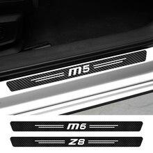 4PCS Car Door Sill Stickers For BMW M1 Homage 40i M2 CS M3 E92 M4 M5 M6 Z1 Z3 Z4 E89 E85 Z8 Auto Accessories Carbon Fiber Decals