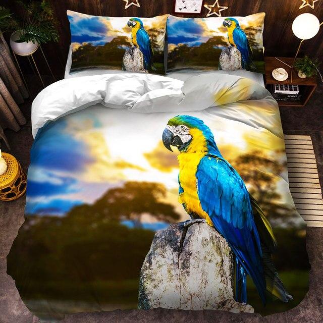 Комплект постельного белья с попугаем двойной полный Королевский