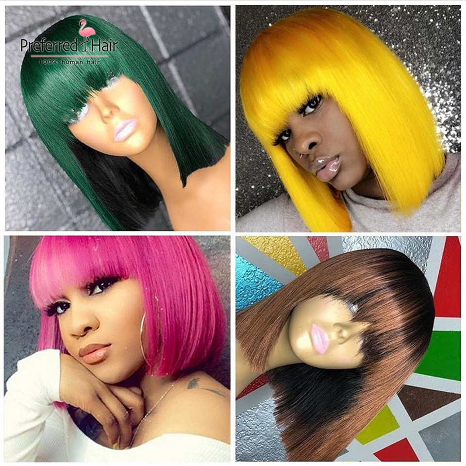 Preferred 13x6 Ombre Wig Hot Pink Short Human Hair Wigs Preplucked Remy Brazilian Bob Lace Front Wigs With Bangs For Black Women