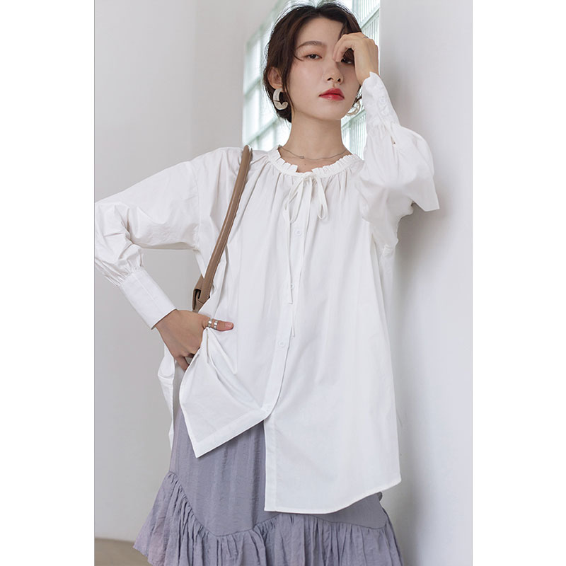 DIMANAF Plus Size Blouse Shirts Women Clothing Cotton Solid Pleated Ruffled Lady Tops Tunic Casual Loose Long Sleeve Button 2020