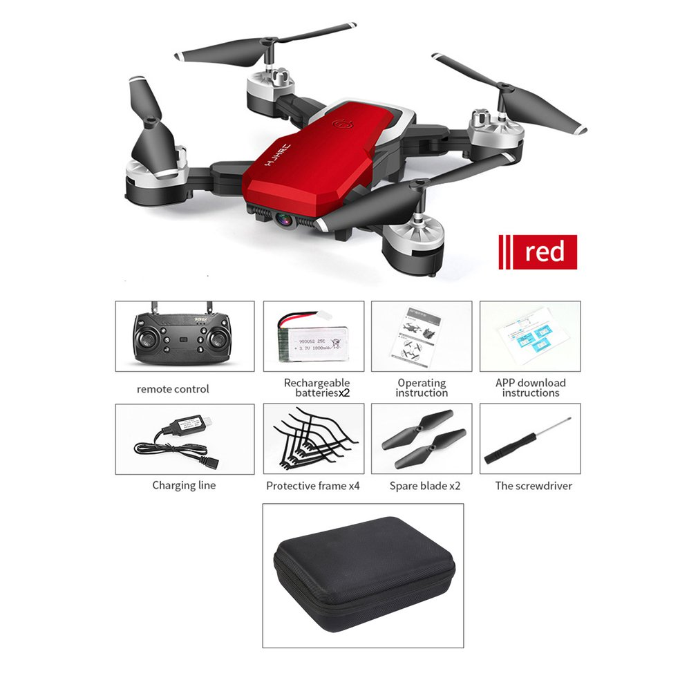 HJ28 1 Foldable 5MP Camera RC Drone Wifi FPV Altitude Hold Gesture Photo/Video RC Quadcopter With Storage Bag & 2PCS Batteries|Camera Drones| |  - title=