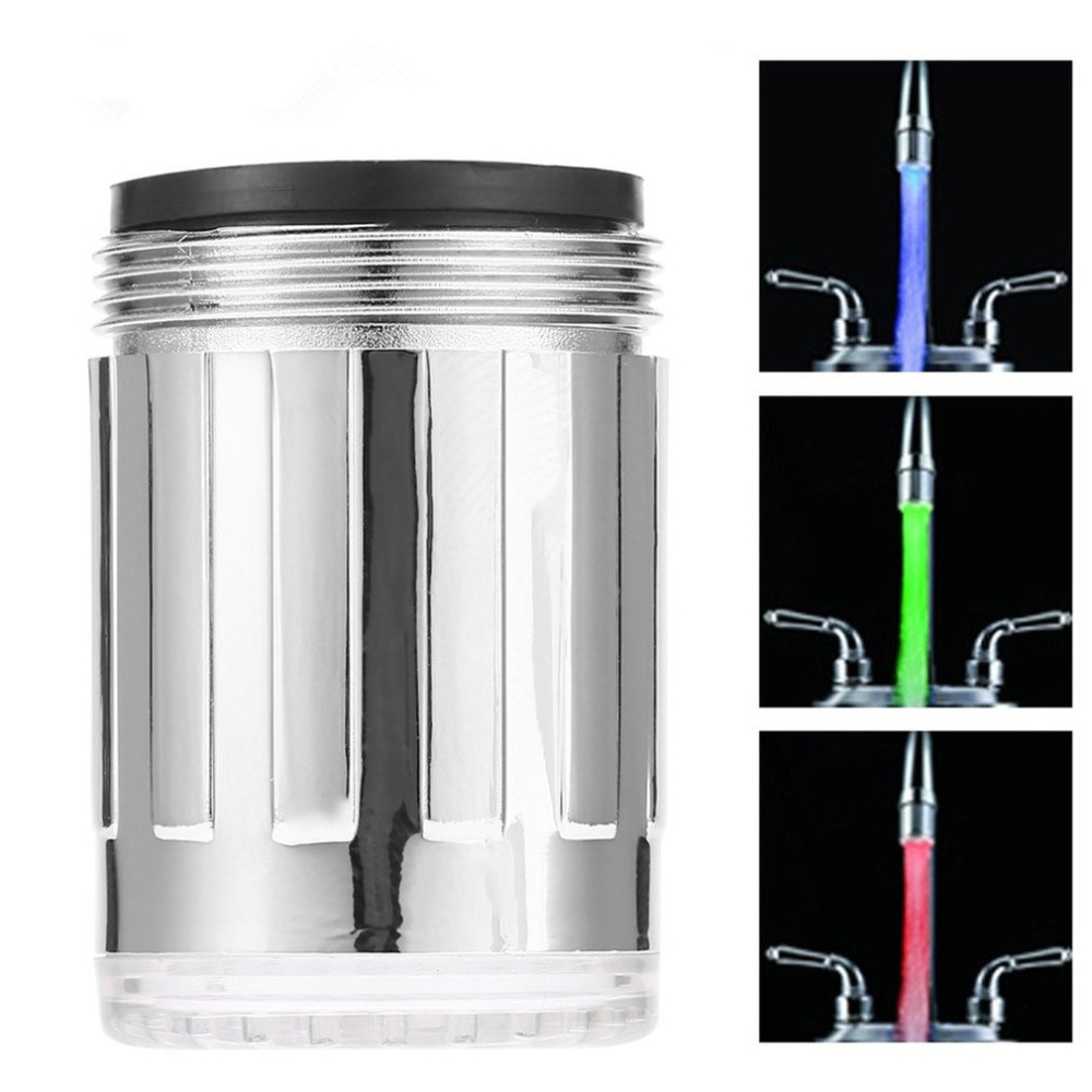 Dropshipping LED Water Faucet Stream Light 7 Colors Glow Shower Tap Head Kitchen Pressure Sensor Bathroom Faucets Taps Accessory