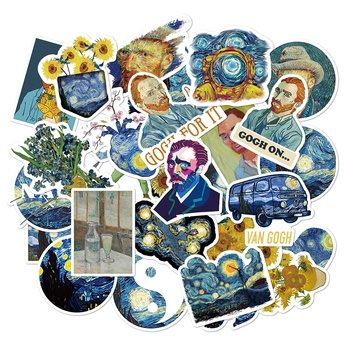 50 pcs/set The Painting of Van Gogh PVC Waterproof Stickers for Luggage DIY Scrapbooking Bullet Journal Stationery Sticker image
