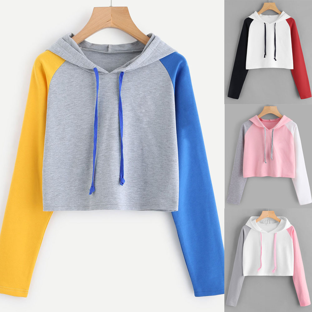 Fall Womens Cropped Hoodie Casual Long Sleeve Hoodie Sweatshirt Hooded Pullover Tops Blouse Strawberry Pastel Clothes Moleton