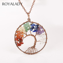 Vintage Tree Of Life Pendant Necklace For Women 7 Chakra Rainbow Natural Stone Bijoux Collier Elegant Statement Jewelry