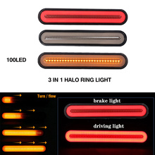 2x Waterproof LED Trailer Truck Brake Light 3 in1 Neon Halo Ring Tail Stop Turn Sequential Flowing Signal Lamp