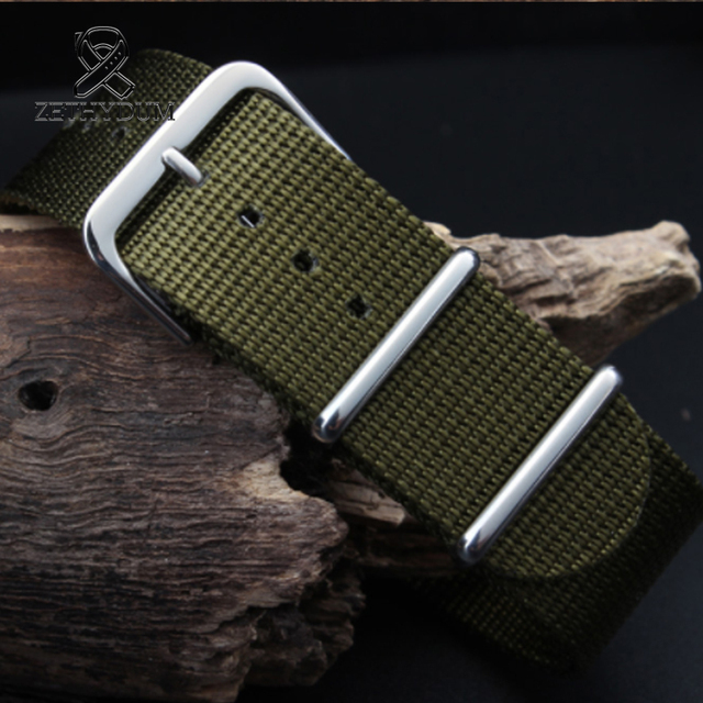 Simple and pure color Outdoor sport Nylon canvas watch belt Waterproof and sweat proof 16 18 20 22 24 Military Watch male strap 5
