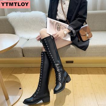 цены Fashion knee high boots women's winter boots black sexy PU thick high heels long boots thick with round head side zipper women's boots