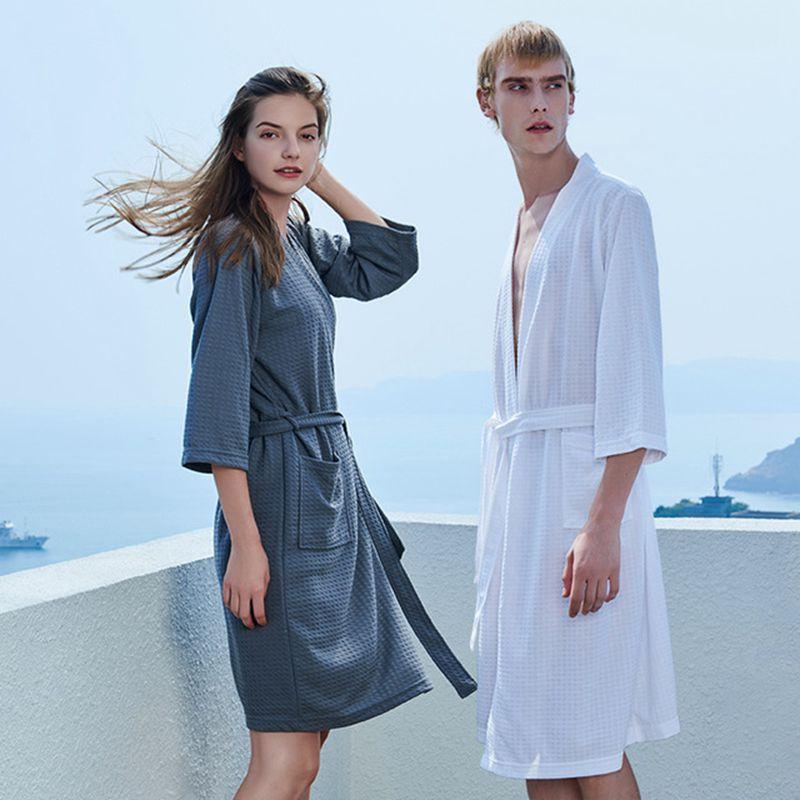 Couple Pajamas New Waffle Bathrobe Men's Bathrobe Evening Dress Bride Comfortable Nightgown халатыженские Size M XL 3XL