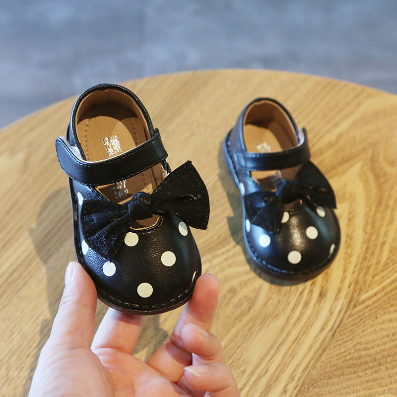 Baby Princess Shoes Bowtie Wave Point Child Baby Toddler Soft Bottom Leather Shoes Single Shoesgirls