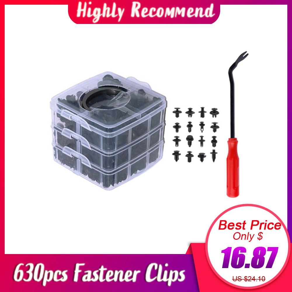 630 pçs conjunto de rebites de pinos de pressão do corpo carro pára-choques do carro reparação kits prendedor clipe expansão clipes de plástico automático prendedores