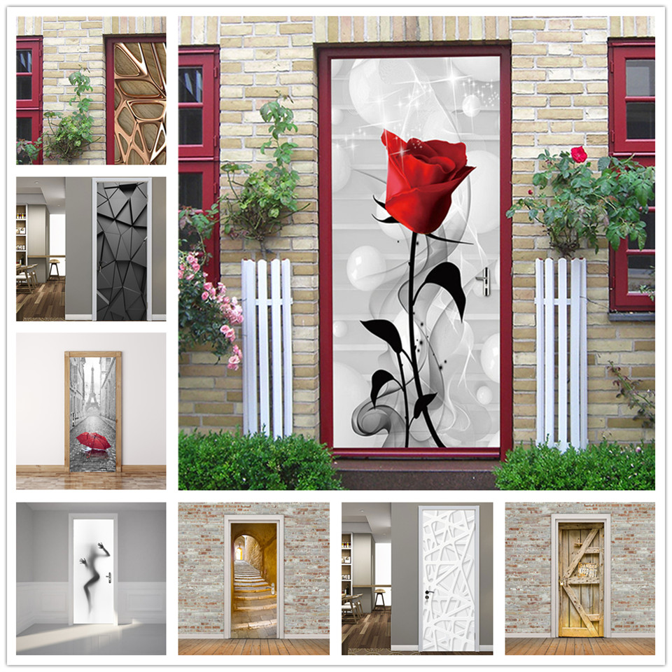 Flower Door Stickers Home Decor Living Room Bedroom Removable Wallpaper Adhesive Waterproof Poster Papier Peint Porte 3D Decals