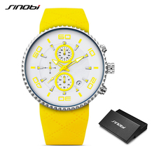 SINOBI Fashion Mens Sports Watches Stopwatch Waterproof Silicone Band Running Chronograph Watch 3 Colors relojes para hombre
